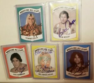 5-CARD-AUTOGRAPH-1982-Wrestling-All-Stars-A-STEAMBOAT-SANTANA-MASCARAS-ROOP-RICH
