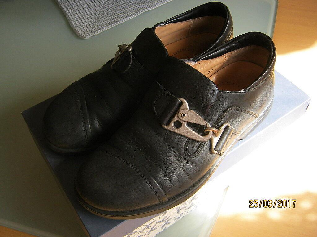 THINK Damen Schuhe Halbschuhe Leder schwarz Schnalle 37 Lederschuhe Echtleder