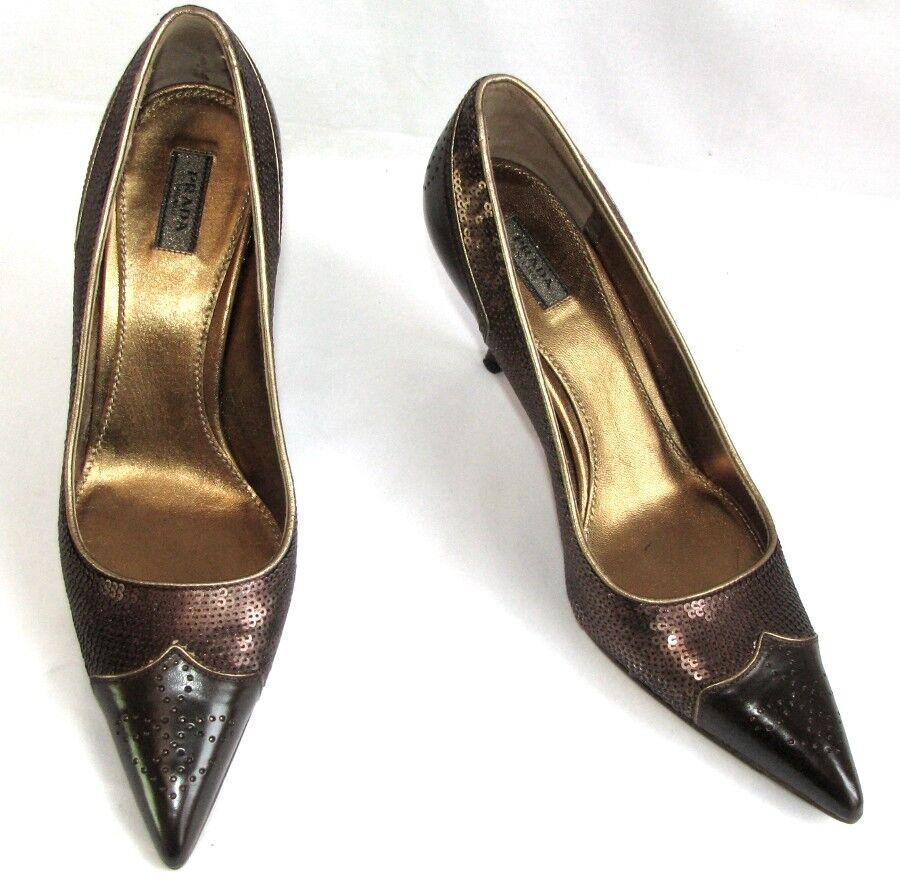 PRADA Escarpins talons 7.8 cm cuir marrón sequins 37 37 37  COMME NEUF BOITE DUST BAG  la mejor oferta de tienda online