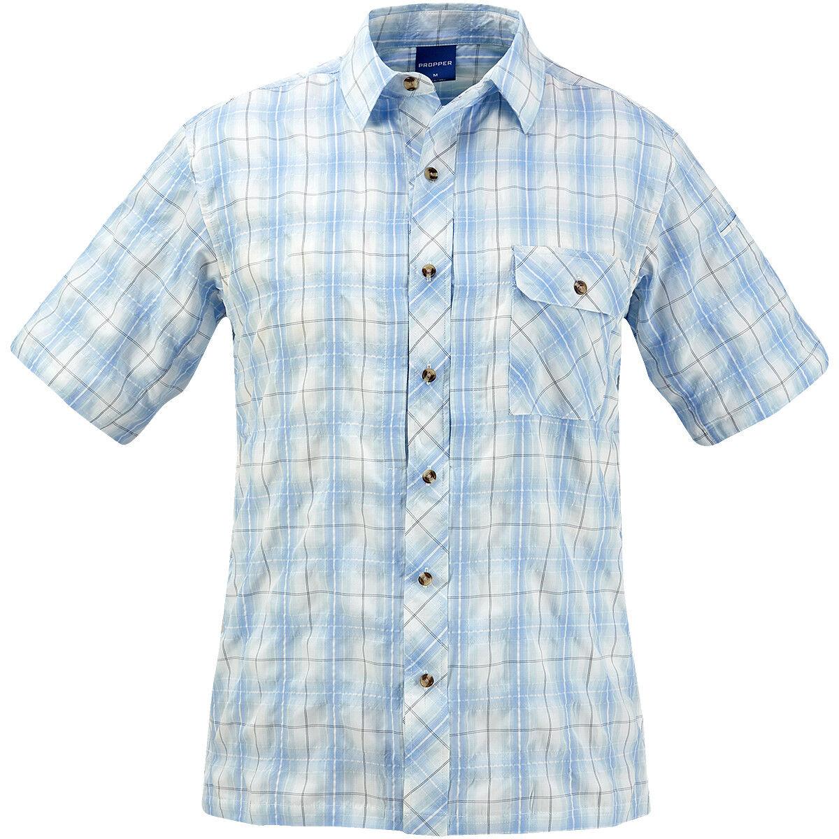 Propper Cogreen Button-Up Short Sleeve Shirt Uniform Police Mens Light bluee Plaid