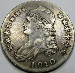 1810 O-106a Capped Bust Half Dollar Choice Abt. AU... Nice Antique Toning, NEAT!