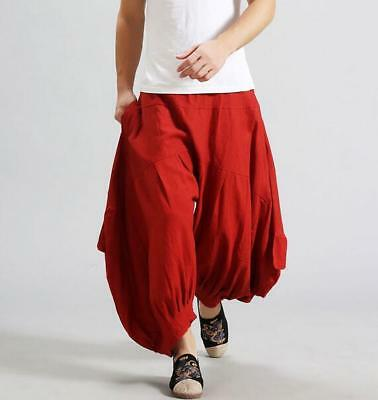 Chinese Style Mens Wide Leg Linen Casual Pants Loose Fitting Skirt Trouser Ths01
