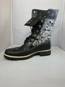 interfaz Naturaleza Recogiendo hojas  Timberland Boots Black Silver White Camo Leather Size 10 M Tall or fold  down | eBay