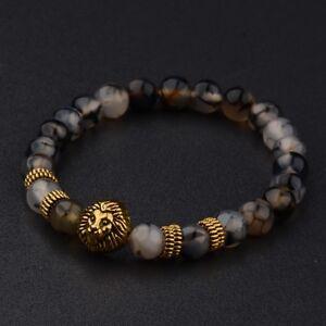 Fashion-8MM-Men-039-s-Natural-Stone-Gold-Silver-Lion-Buddha-Beaded-Charm-Bracelets