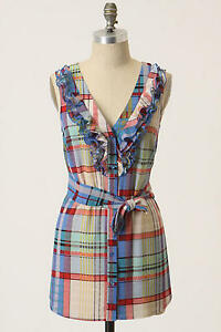 Anthropologie-6-Caricaturist-Tunic-Top-Fei-Plaid-Ruffled-Blouse-Blue-amp-Red-Shirt