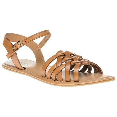 New Womens Lotus Tan Adela Leather Sandals Flats Buckle