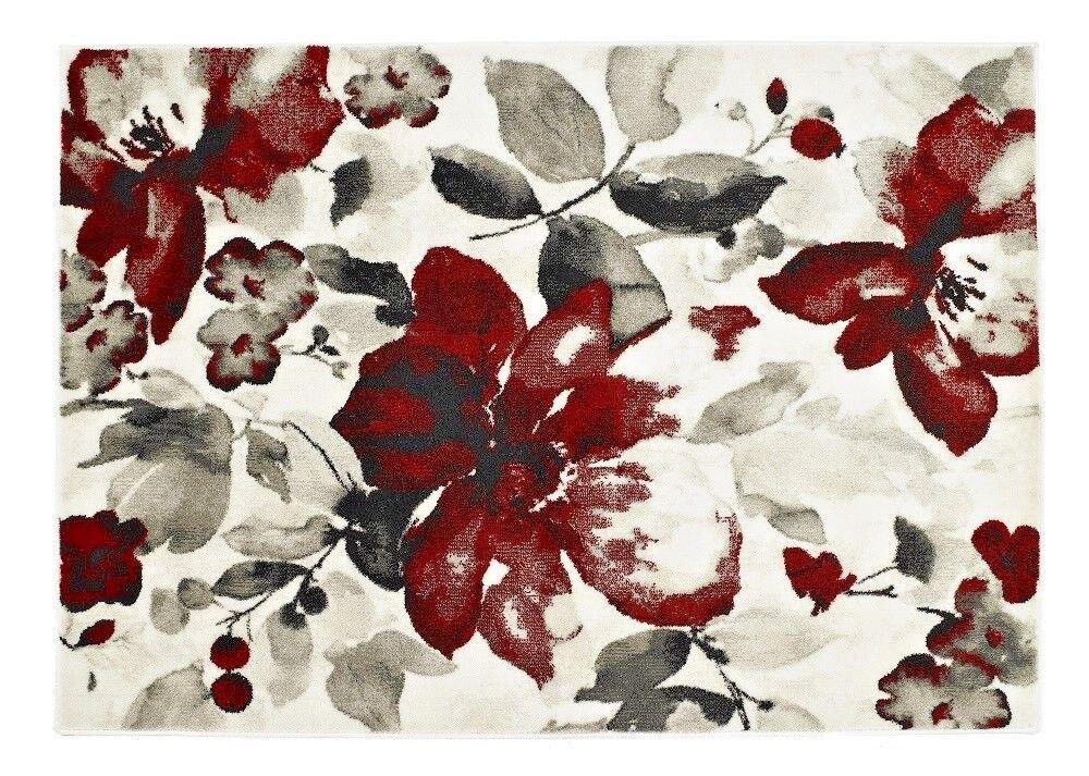 Origine florale Aquarelle Aquarelle Aquarelle Plat Pile Minimal hangar Polyprop Tapis Rouge 3 Tailles | Exquis  c29e18