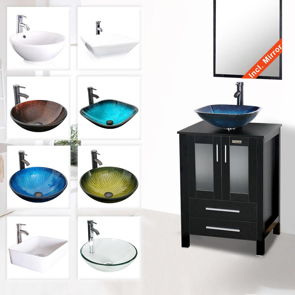24inch Bathroom Vanity Cabinet Counter Top Basin Vessel Sink Faucet Drain Combo For Sale Online Ebay