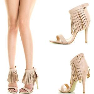 24a744ae0a0 Details about Nude Open Toe Fringe Tassel Ankle Strap Single Sole Stiletto  Heel Pump Sandal US