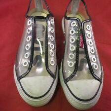 EUC LEVI'S CLEAR SEE THRU GLASS LO WHITE BLACK TENNIS SHOES SNEAKERS WOMEN'S 7