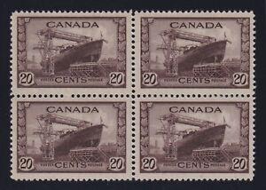 Canada Sc #260 (1942) 20c chocolate Corvette Block of 4 Mint VF NH