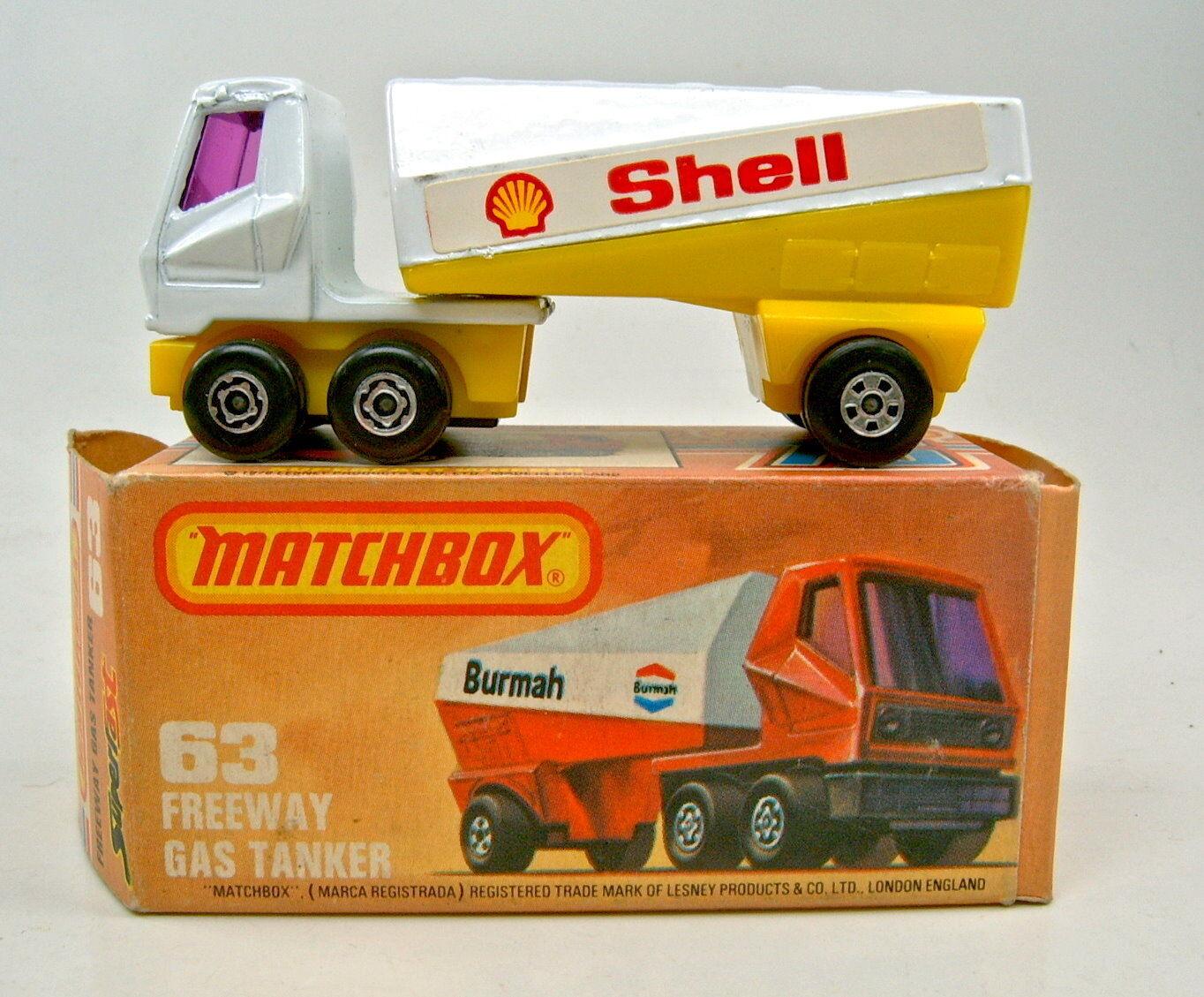 Matchbox SF Nr.63B Freeway Tanker  Shell  lila Scheiben in OVP  | Sehr gelobt und vom Publikum der Verbraucher geschätzt
