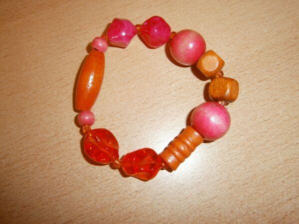 1 Hübsches Dehnbares Armband-korallenrot-orange-braun-neu/modeschmuck