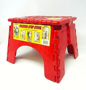 Sturdy E-Z Foldz Step Stool RED Easy Folding Stool