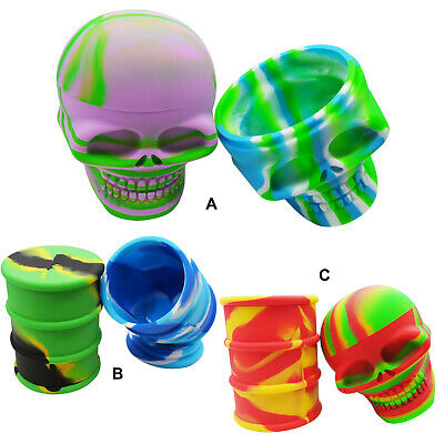 2PCS Non-stick 500ml Large Skull Barrel Drum Silicone Wax Concentrate Container