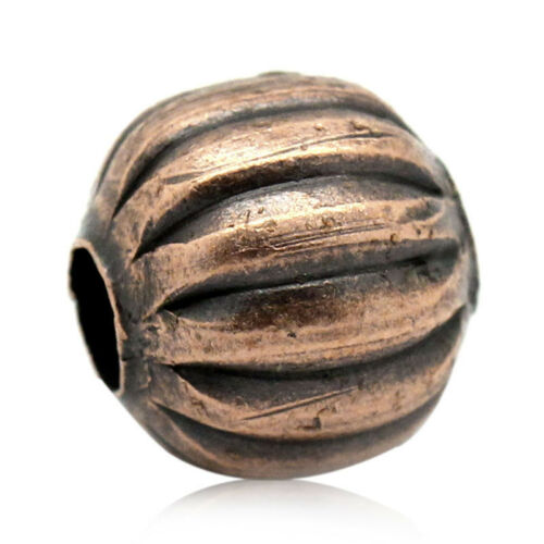 Wholesale Lots Gift Spacer Beads Striped Pumpkin Round Copper Tone 8mmx8mm