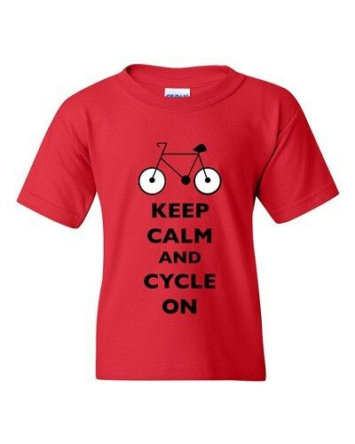 Keep Calm And Cycle On Cycling Bike Bicycle Ride Funny DT Youth Kids T-Shirt Tee