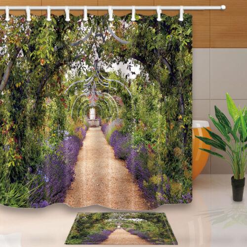 Colourful summer flower garden with a path under archway Shower Curtain & 12Hook