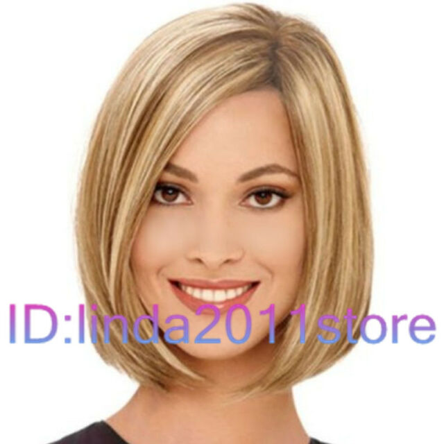 Hot! lady Short Straight Blonde Mixed Cosplay party lady's wigs + wig cap