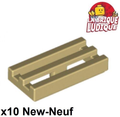 Lego 10x Tile Modified 1x2 Grille grill radiator beige//tan 2412b NEUF