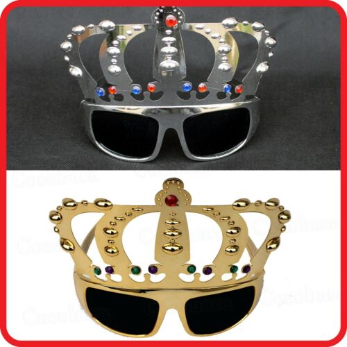 MAJESTIC ROYAL GOLD SILVER KING PRINCE QUEEN JEWELED CROWN TIARA SUNGLASSES