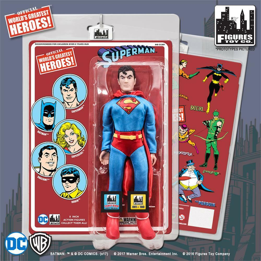 DC Comics Retro Superman  8 Inch Action Figure with retro card early bird L/E