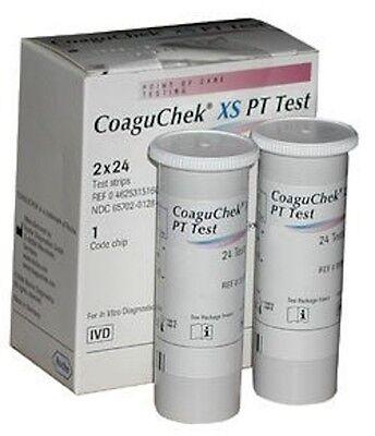 NEW ROCHE COAGUCHEK XS PT/INR TEST STRIPS 48/BX