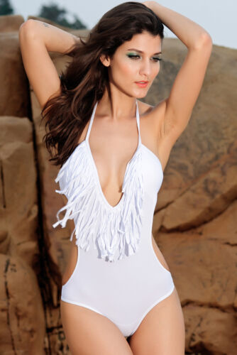 Ladies Swimsuit Swimming Costume Swimwear Tasselled White or Ivory Size 8 10 12