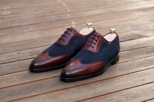 Hecho a mano para hombres Cuero Genuino De Borgoña & Azul Zapatos de Gamuza Acordonados formal