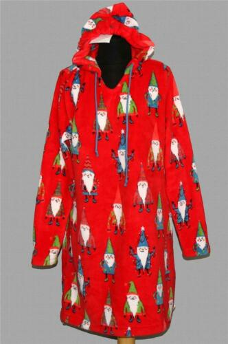 Munki Munki Plush Fleece Christmas Gnomes Red Hoodie Robe Pajamas Wm/'s NWT VHTF