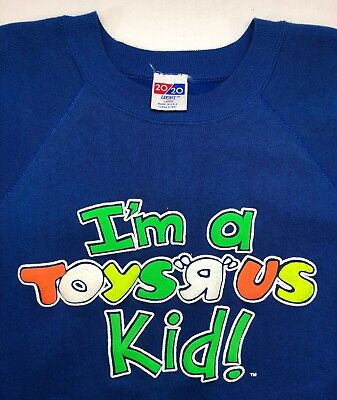"Vintage Mens L 80s I'm A Toys ""R"" Us Kid Toy Store Retail Shop Blue Sweatshirt"