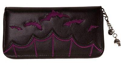 Banned Gothic Bats Faux Leather WALLET Purse Zip Vampire Horror Emo Black Purple