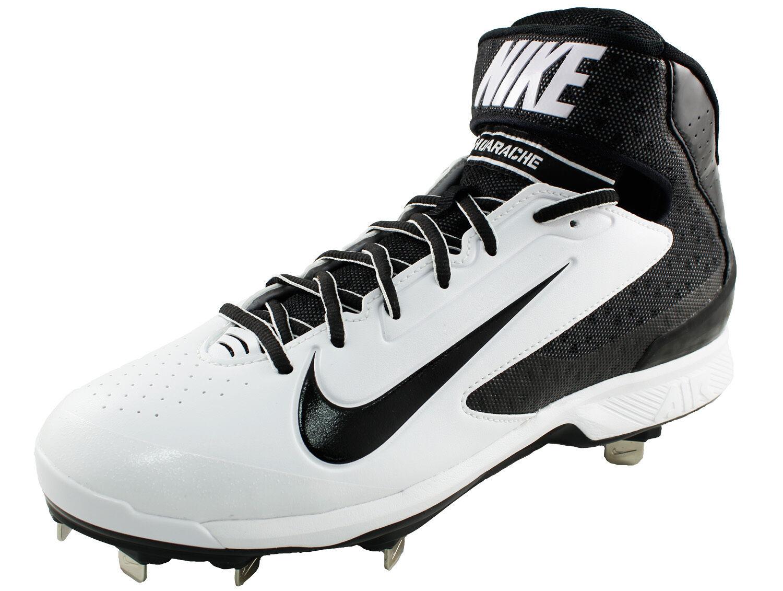 New Nike Men's US 9 Huarache Pro Mid Metal Baseball Cleat White   Black  95
