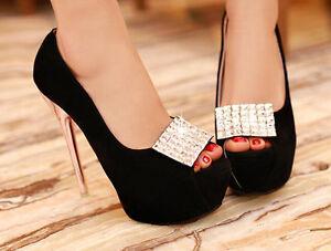 Décollte Scarpe decolte sandali donna tacco spillo plateau 14 cm  nero 9187