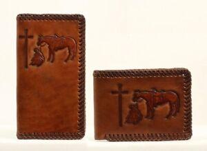 Kneeling-Cowboy-Horse-Embossed-Leather-Nocona-RODEO-WALLET-Roper-Bii-Fold