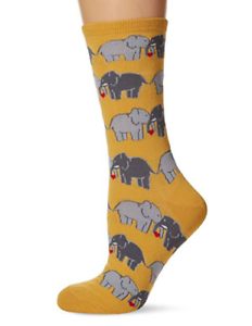 Elephant Socks Lucky in Love Yellow Crew Valentine/'s Day Sock Shoe Size 4-10.5