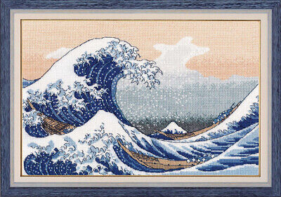 Counted Cross Stitch Kit OVEN The Great Wave in Kanagawa