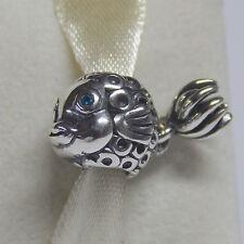 New Authentic Pandora Charm 791108TPP Splish Splash Blue Fish Box Included