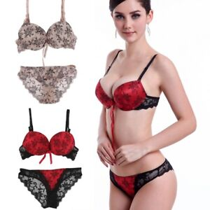428061043e Women Sexy Lace Embroidery Bra Set Lingerie Push Up Bras + Panties ...