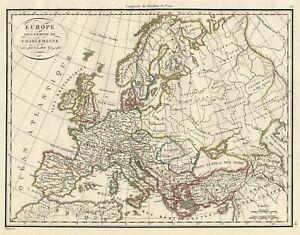 Grande-Carte-Ancienne-Europe-Empire-Charlemagne-Atlas-Lapie-Gravure-C1825