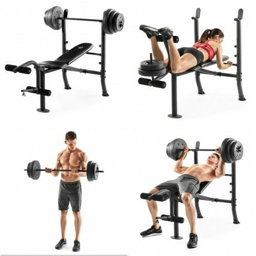 Weight Lifting Bench Set Workout Adjustable Home Gym Fitness Plate Bar Lift Rack