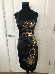aeb6906930b Image is loading Cache-Black-Gold-Foil-Floral-Cocktail-Dress-Size-