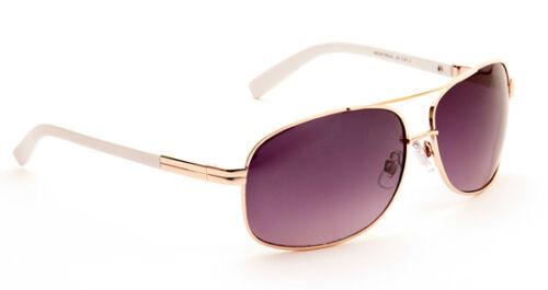 Mens Retro Metal Designer Vintage Pilot Classic Sunglasses Gold White Case