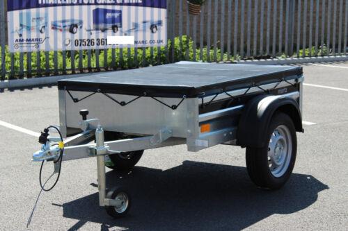 Heavy Duty PVC Waterproof Trailer Flat Cover 4/'11 x 3/'6ft BLACK 150cm x 106cm