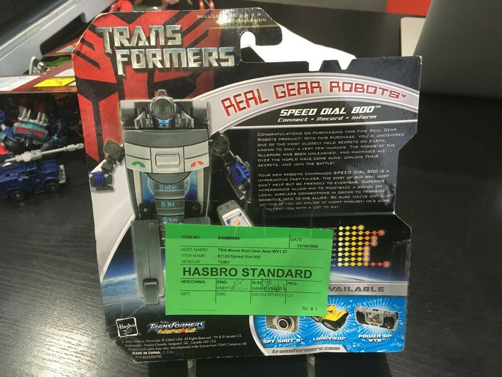TRANSFORMERS REAL GEAR ROBOTS SPEED DIAL 800 HASBRO STeARD verde TAG