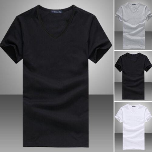 V//Round Neck Tops T-shirt Micro Fiber Gentle Men Short Sleeve 6 Colors Summer