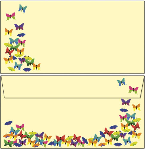 bunte Schmetterlinge Tiere Set Motivpapier Briefpapier 20 Blatt A4 10 Kuverts