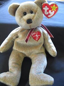 TY Beanie Baby 1999 SIGNATURE TEDDY Bear WITH ERRORS IN HANG TAG ... 9313fbfcf9