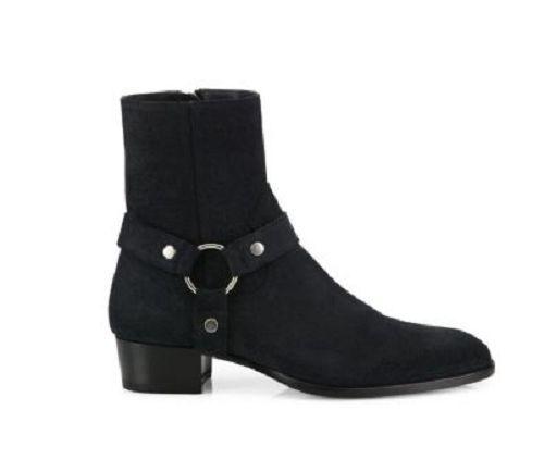 Mens Leder boot Handmade High Ankle  schwarz Pure Suede Leder Hunter Schuhes
