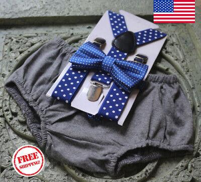 1st Birthday boy cake smash bow tie suspenders outfit 12 mo Light gray gray,